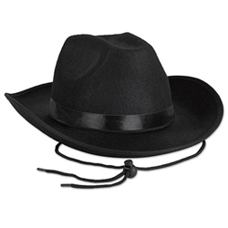You'll get your cowboy on when your wearing this classic Black Felt Cowboy Hat!  This classically styled cowboy hat is just the ticket for any western themed party.  Each hat comes with a chin string and black ribbon hatband.