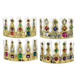 Show off your royalty at a medieval or Renaissance theme party by sporting one of these fancy Jeweled Crowns. The crowns have colorful jewels printed on them and there are a total of eight crowns in the package.