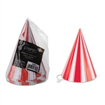 The Striped Cone Hats feature red and white stripes, as well as an elastic strap to secure a quality fit. The last thing you want is a hat falling off when you're trying to set the dance floor on fire! That won't happen with these! Comes eight per package