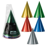 These Foil Cone Hats are colorful and sure to catch the eye of everyone at the party. The elastic strap is attached, so you won't have to worry about your hat falling off all night when you're trying to bust a move on the dance floor. Eight per package.