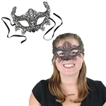 Wear this elegant black Lace Mask to your upcoming masquerade or a rockin' Mardi Gras celebration! The mask even has a ribbon attached, therefore you won't have to dedicate one hand to holding the mask up all night. Comes one mask per package.