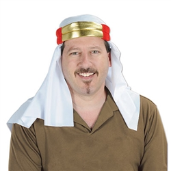 Soft satin head covering featuring a white fabric material with two gold fabric strips at the top, accented with red. Fits an average sized head. Perfect for Halloween, International party, or Nativity scene.