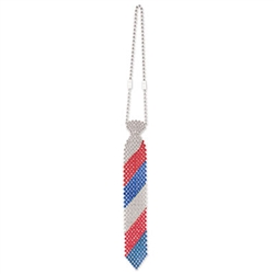 Show off your patriotism and love for America by wearing this Beaded Patriotic Tie! This is the ultimate clothing accessory for a 4th of July party. The tie is made completely of red, blue and silver beads. Comes one awesome tie per package.