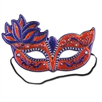 Get ready for your Mardi Gras party by ordering this Costume Mask. It's a colorful mask that even has the elastic attached. It features classy shades of orange, purple and silver. Comes one mask per package.