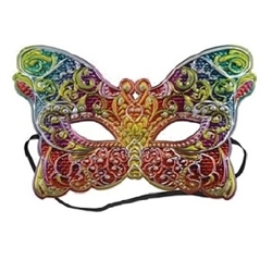 Hide your identity and embrace the theme at a Mardi Gras party or masquerade ball by wearing this colorful Costume Mask. It features elegant shades of green, red, yellow, purple, blue and orange. Elastic attached. One per package.