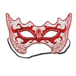 This red, silver and white Costume Mask has a rather fiery design and the outline near the eyes makes this a must-have product. There is an elastic strap attached and the inside of the mask has a felt lining for added comfort.