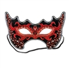This devilish red and black Costume Mask is excellent for a masquerade ball or completing your Halloween outfit. There's an elastic strap attached and the felt material on the side gives it some added comfort. Comes one black, red and silver mask per pack