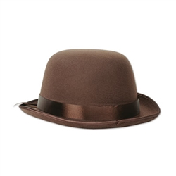 This brown Bowler Hat is the ideal top hat to wear at a formal event, a Halloween party or even when you're knocking down pins at a local bowling alley. The hat will fit most average-sized heads and even features a subtle brown ribbon going around the hat