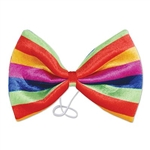 The Jumbo Rainbow Bow Tie is a colorful accessory for any ensemble. The array of vibrant colors include green, red, yellow, purple, and blue. Made of soft plush material with an elastic band attached. Great for a carnival, circus, or any party. No returns