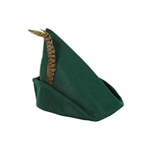 The Felt Robin Hood Hat is forest green and embellished with a feather. Measures 12 inches across and 10 inches high including the feather. Has an inside circumference of 22 inches. One size fits most adults. One per package. No returns.