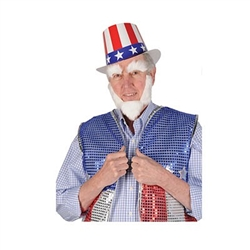 The Uncle Sam Kit contains a white non-woven fabric beard and set of eye brows. It has adhesive tape on the back, so just remove the back and apply to your face and instantly transform yourself into Uncle Sam! One time use. No returns.
