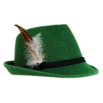 The Deluxe Alpine Hat is covered in green felt material and is decorated with 3 cords around the top and a feather on the side. Has an inside circumference of approx 22 inches and about 5.5 in high. One size fits most. Comes one per package. No returns