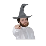 The Felt Wizard Hat is grey and measures approximately 23.5 inches tall. Has an inside circumference of 22 inches. One size fits most. Contains one per package. No returns.