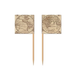 The Around The World Picks (50 per pkg) are wooden toothpicks with a tan paper flag attached. The flags are printed with a globe and printed on two sides. Each side is printed with a different design. Measure 2 1/2 inches tall. Contains 50 per package.