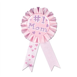Cerise #1 Mom Rosette Award Ribbon