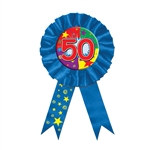 Blue 50 Rosette Award Ribbon