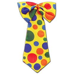 Yellow Clown Tie with Multi-Color Polka-Dots