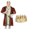 The Fabric Gold Crown is made of shiny gold fabric and measures 4 3/4 inches tall. Has an inside circumference of 22 inches, one size fits most. Contains one per package. Due to hygiene-related concerns, this item is not eligible for return.