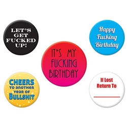 Express how excited you are for your special day by accessorizing with the Funny Birthday Party Buttons. They are colorful and each button has a different saying. 4 measure 1.75 inches and 1 measures 2 inches. 5 buttons per pack. Not intended for children
