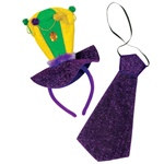 Mardi Gras Headband and Necktie Set