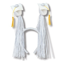 White Grad Cap Boppers with Fringe