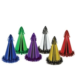Assorted Fringed Foil Party Hats (sold 25 per box)