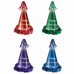 Fringed Foil Happy Birthday Party Hats, 13in