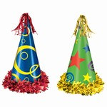 Assorted Fringed Printed Foil Party Hats