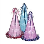Fringed Pastel Foil Birthday Hats (1/Pkg)