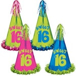 Fringed Foil Sweet 16 Birthday Party Hat (1/pkg)