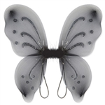 These black Nylon Fairy Wings will complete any fairy or butterfly costume out there. With glitter embellishments, these fun wings are sure to please anyone. More colors are available.