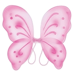 These pink Nylon Fairy Wings will complete any fairy or butterfly costume out there. With glitter embellishments, these fun wings are sure to please anyone. More colors are available.