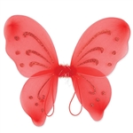 These red Nylon Fairy Wings will complete any fairy or butterfly costume out there. With glitter embellishments, these fun wings are sure to please anyone. More colors are available.