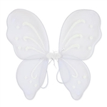 These white Nylon Fairy Wings will complete any fairy or butterfly costume out there. With glitter embellishments, these fun wings are sure to please anyone. More colors are available.