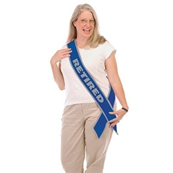 The Retired Now The Fun Begins! Satin Sash is made of satin fabric and measures 4 inches wide and 33 inches long. It's blue with silver lettering and one side reads RETIRED and the reverse side reads Now the Fun Begins! in cursive. 1 per pack. No returns.