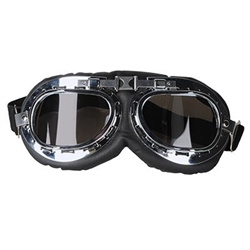 The Aviator Goggles are made of silver/black plastic with smoked lenses. They're cushioned with an adjustable elastic band attached. Fits most adults heads. One size fits most. Contains one per package. No returns.