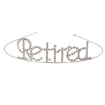 "The Retired Royal Rhinestone Tiara is made of silver metal and reads ""retired"" in rhinestones. One size fits most. One per package. Due to hygiene-related concerns, this item is not eligible for return."