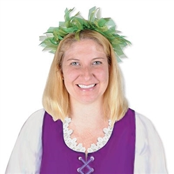 The Fairy Crown is made of sheer green and light green ribbon attached to a metal wire with a ribbon bow on the back. One size fits most. Contains one per package. Due to hygiene-related concerns, this item is not eligible for return.