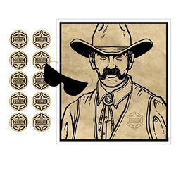 The Pin The Badge On The Sheriff Game is printed on thin plastic and measures 16 1/2 inches by 18 inches. It is printed with the image of a sheriff and includes 10 numbered badges as the game pieces and 1 blindfold mask. Each package contains 12 pieces.