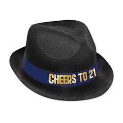 "The 21st Birthday Hat is a black plastic velour covered hat with a blue band that reads ""Cheers to 21"" in gold. Fits full head size. One size fits most. Contains one (1) per pack. No returns."