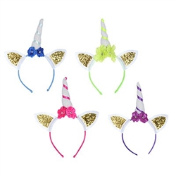 The Glittered Unicorn Headbands are made from a standard headband topped with a white unicorn horn wrapped in colorful ribbon with matching flowers and two gold glittered white ears. One size fits most. Contains (4) per package. No returns.