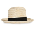 The Straw Skimmer Hat is made of straw with a black ribbon band around the top. Stands 5 inches tall. One size fits most. Contains one (1) per package. Due to hygiene-related concerns, this item is not eligible for return.
