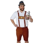 These Bavarian Suspenders are made of brown felt, and adjust from approximately 43 inches to 52 inches. A 9-inch printed Bavarian theme insert joins the suspenders. Metal clips attach to both ends, allowing for secure fastening to pants. One per pkg