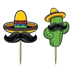 The Fiesta Picks are made of cardstock with a wooden pick. They're an assortment of sombro's and cacti each with a mustache. Printed on two sides. Measure 3 1/2 inches tall. Contains 50 per package.