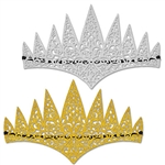 These soft,  flexible glittered tiaras feature an intricate laser cut design covered in either silver glitter or gold glitter. You receive two tiaras in the package - one in gold and one in silver! Elastic band permits secure fit. Contoured forehead.