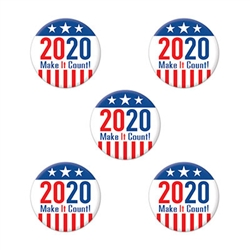 2020 Make It Count Party Buttons