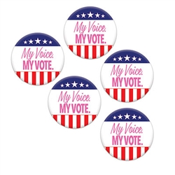 Show your American Spirit, political pride and independence with our My Voice. My Vote party buttons.  Great for give-a-ways at campaign events, registration drives as well.