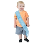 This blue 1st Birthday Satin Sash is a great party accessory to commemorate the special day of a child's first birthday. The package includes one blue satin sash measuring 2 3/4 inches by 19 1/4 inches, as well as a hook and loop fastener.