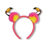 "Looking for a fun accessory for your Luau or Jungle themed party that's easy to wear?  Try this Toucan Pom-Pom Headband, it's definitely something to ""tweet"" about!   One size fits most."