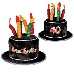 Plush 40 Over-The-Hill Birthday Cake Hat